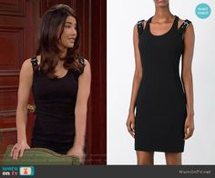 Steffy's black dress with buckled straps on The Bold and the Beautiful.  Outfit Details: https://wornontv.net/60223/ #TheBoldandtheBeautiful