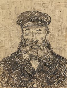 """Vincent van Gogh, """"Portrait of Joseph Roulin,"""" Drawing, x cm x 9 in. Van Gogh described Roulin as, """"A good soul and so wise and so full of feeling and so trustful. Vincent Van Gogh, Art Van, Van Gogh Zeichnungen, Desenhos Van Gogh, Van Gogh Arte, Theo Van Gogh, Van Gogh Drawings, Van Gogh Portraits, Cross Hatching"""