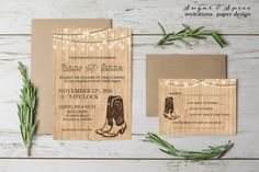 Western Wedding Invitation Rustic Wedding by SugarSpiceInvitation
