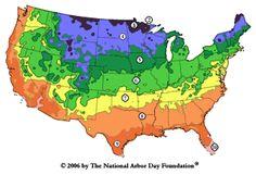 USDA Hardiness zone map courtesy of The National Arbor Day Foundation Vegetable Planting Calendar, Garden Plants Vegetable, Planting Vegetables, Veggies, Gardening Calendar, Veggie Gardens, Growing Vegetables, Oxalis Triangularis, Arbor Day Foundation