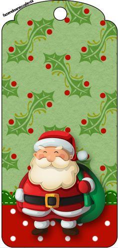 Tag Agradecimento Natal Papai Noel e Boneco de Neve:
