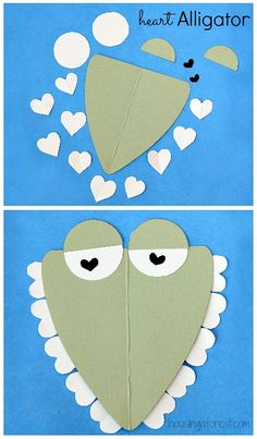 6 Heart Shaped Animals with FREE printable PDF's ~ Heart Shaped Alligator Valentine crafts for kids