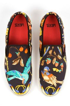 Vans shoes covered in a Hermes scarf.