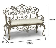 Wrought Iron Bench - Black