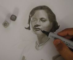 Coloring a portrait with Copic markers