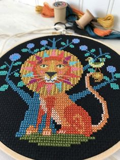 Cross stitch zodiac pattern by Satsuma Street - Leo the Lion