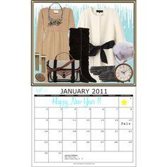 2011 Fashion Calendar ~ January by kateo on Polyvore featuring Crumpet, Manolo Blahnik, Proenza Schouler, ASOS, Elie Tahari, Allison Daniel, Kate Spade and Pier 1 Imports