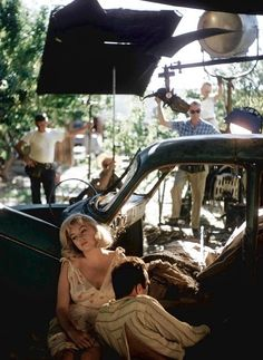 """""""Marilyn Monroe and Montgomery Clift relaxing between takes on the set of The Misfits, 1960. Photo by Eve Arnold """""""