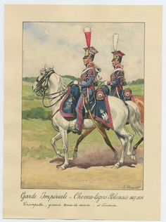 Chevau Legers (Polish) de la Garde Imperiale, trumpeter and farrier. French Pictures, Napoleon Josephine, French Army, Napoleonic Wars, Military Art, Empire, Concept Art, History, Painting