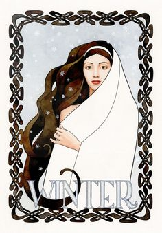 The Four Seasons II - Winter. Goddess art, watercolor, painting, winter decor, snow, archival art print.