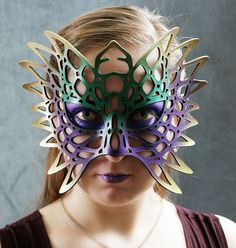 Totem leather mask in Mardi Gras colors by TomBanwell on Etsy. , via Etsy.