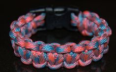 Paracord survival bracelet in Cotton Candy Paracord Bracelets, Bracelet Patterns, Cotton Candy, Survival, Camping, Trending Outfits, Unique Jewelry, Handmade Gifts, Crafts