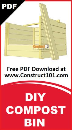 Compost bin plans. Build it yourself projects, free PDF download. Includes shopping list, cutting list, drawings, and measurements. Worm Composting, Gardening Tips, Wood Projects, Woodworking, Gardens, Pdf, Hacks, How To Plan, Drawings