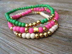Arm Candy Beaded Bracelets Stackable Bracelets by PoePoePurses, $24.00 #jewelry #bracelets