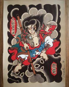 "661 Likes, 8 Comments - DENEKA HORIDEN 彫電 (@deneka_) on Instagram: ""#kumonryu #painting #pintura #watercolor #illustration #aquarela #irezumi #japaneseart #suikoden…"""