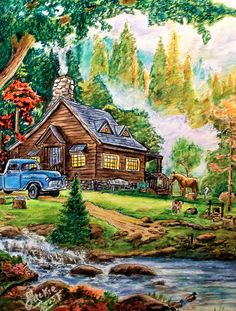 "From "" Thomas Kinkade - Painter of Light , Peaceful Moments "". Done with Prismacolor . Rembrandt Polycolor pencils , Bic, Stabilo, Staedtler and Sakura fine liners. Nature Art Drawings, Irish Images, Art Drawings, Oil Painting Pictures, Pretty Drawings, Cottage Art, Art, Color Pencil Art, Landscape Drawings"