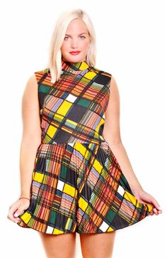 Vintage 60's Check Mod Dress $49