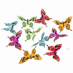 """Butterfly garland. Bright Spring colors in blue, orange, pink and greens. These butterflies have wing tips! 78"""" long"""