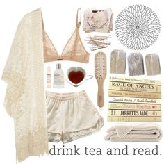'All Day Long' by teriarejola on Polyvore featuring Anna Sui, Calvin Klein Underwear, Le Labo, Philip Kingsley, bra, white, tea, books, kimono and letters