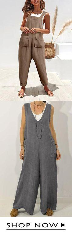 Summer V-Neck Cotton Jumpsuit Cotton Jumpsuit, Printed Jumpsuit, Striped Jumpsuit, Casual Clothes, Casual Outfits, Cute Outfits, Clothes For Women, Vintage Jumpsuit, Chic Dress