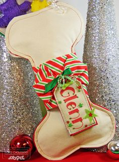 Christmas stocking for dog made from canvas with a personalized tag! Used Papertrey Ink and My Favorite Things dies on the tag! Secretbees Studio: Stockings For Doggies!
