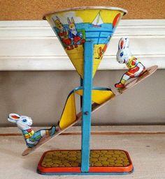 Vintage tin toy bunny seesaw J Chein interactive by ragandboneman