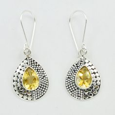 Natural citrine earrings yellow citrine Stone by DevmuktiJewels