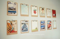 clipboards for changing art & photos! basement playroom art wall?
