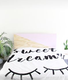 DIY How To Make a Painted Plywood Headboard- His/Hers side with pink
