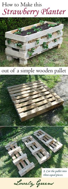 #Gardening How to make this practical strawberry planter out of a single pallet. Pallet Greenhouse, Pallet Garden Box, Garden Ideas Using Pallets, Pallet Projects Diy Garden, Cheap Garden Ideas, Pallet Boxes, Pallet Gardening, Easy Garden, Buy Greenhouse