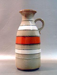 Midcentury lava vase, beige, taupe, orange