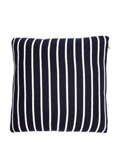 Comfortable navy striped throw pillow