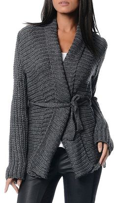 Charcoal Ribbed Tie-Waist Cardigan