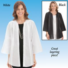 Scoop Neck Lace Trim Jacket