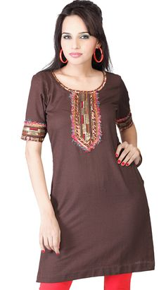 Latest Kurti, Bollywood, Tunic Tops, Lady, Brown, Casual, Stuff To Buy, Color, Shopping