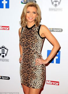 No own goal here: The Manchester United fan's slender physique was on display as she posed... Rachel Riley Countdown, Racheal Riley, Rachel Riley Legs, Football Awards, Katherine Jenkins, Hot Country Girls, Tv Girls, Animal Print Skirt, Tv Presenters