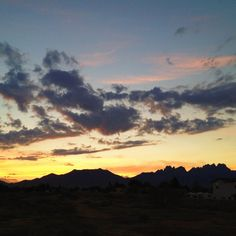 Organ Mountains, New Mexico #sunrise #mountains #yellow #sky #clouds