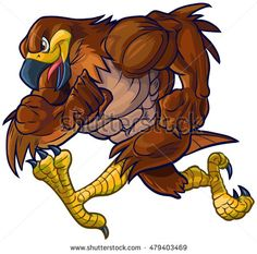 #Vector #cartoon #clipart #illustration side view of a tough muscular #hawk, #falcon, or #eagle #mascot #running.