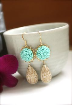 Turquoise, cream and gold earrings