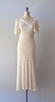 1930s dress / lace 30s dress / wedding dress / by DearGolden, $435.00