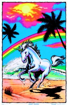 Galloping Unicorn with Rainbow Flocked Blacklight Poster Art Print