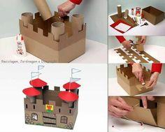 Castelo feito com rolos de papel e caixas. Castel made with paper roll and paper box.