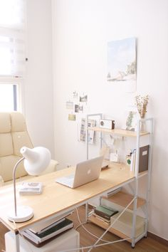 Trendy home office space desk Ideas Home Office Space, Home Office Desks, Office Lounge, Small Office, White Office, Desk Space, Study Room Decor, Bedroom Decor, Bedroom Ideas