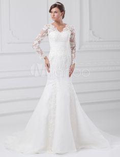 Vestido de noiva sereia decote V manga comprida em renda com cauda e apliques - Milanoo.com