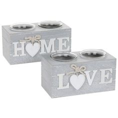 Hearts Novelty Shabby Chic Provence Double Tealight Holder Home or Love Sign Wood Block Crafts, Concrete Crafts, Wood Crafts, Shabby Chic Candle, Shabby Chic Grey, Cement Art, Glass Tea Light Holders, Beton Diy, Love Signs