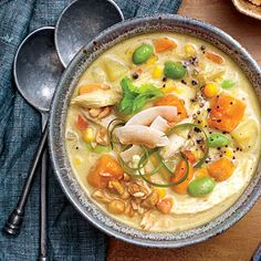 Warm up and fill up with a big-batch of Curried Chicken Chowder. The coconut milk iadds a touch of sweetness to the curried soup.