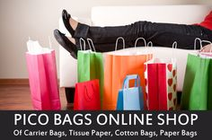 Stunning paper carrier bags in a sumptuous black matt finish, pink, green & many others upto 10% off! #retail #fashion  http://www.picobags.co.uk/collections/paper-carrier-bags
