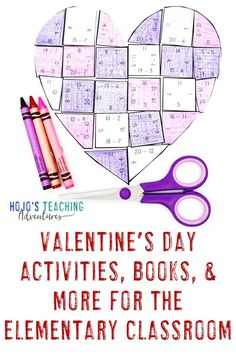 This blog post is full of great ideas for your elementary or middle school this Valentine's Day. Click through to see the great math center ideas, a FREE download, chapter and picture book ideas, bulletin board displays, plus an editable puzzle. There are options for 1st, 2nd, 3rd, 4th, 5th, 6th, 7th, and 8th grade classroom or homeschool students. Check them all out today! #HoJoTeaches #ValentinesDay