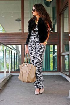 Hallhuber Black And White Loose Fit Geometric Pattern Jumpsuit