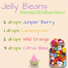 Jelly Beans Diffuser blend smells so sweet! Juniper Berry, Lemongrass, Wild Orange and Citrus Bliss doTERRA essential oils. The kids will love this in the diffuser for Easter dinner.